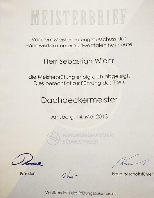 Meisterbrief Sebastian Wiehr - Dachdeckermeister