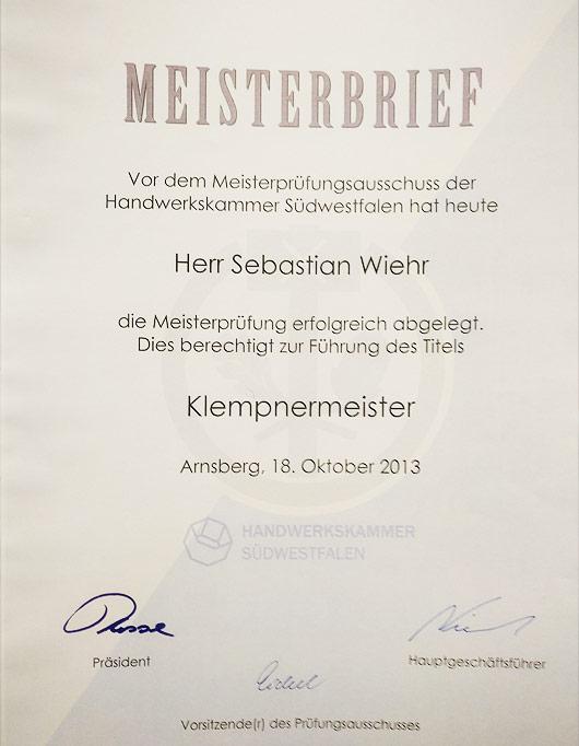 Meisterbrief Sebastian Wiehr - Klempnermeister